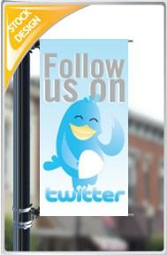 "18""x36"" Follow us on Twitter Pole Banner FREE SHIPPING"