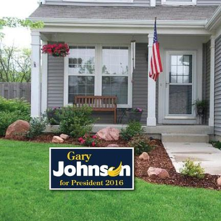"Gary Johnson For President 12""x24"" Corrugated Plastic Sign - 2 Sided"