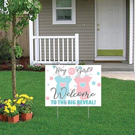Gender Reveal Party Welcome Yard Sign - The Big Reveal - FREE SHIPPING