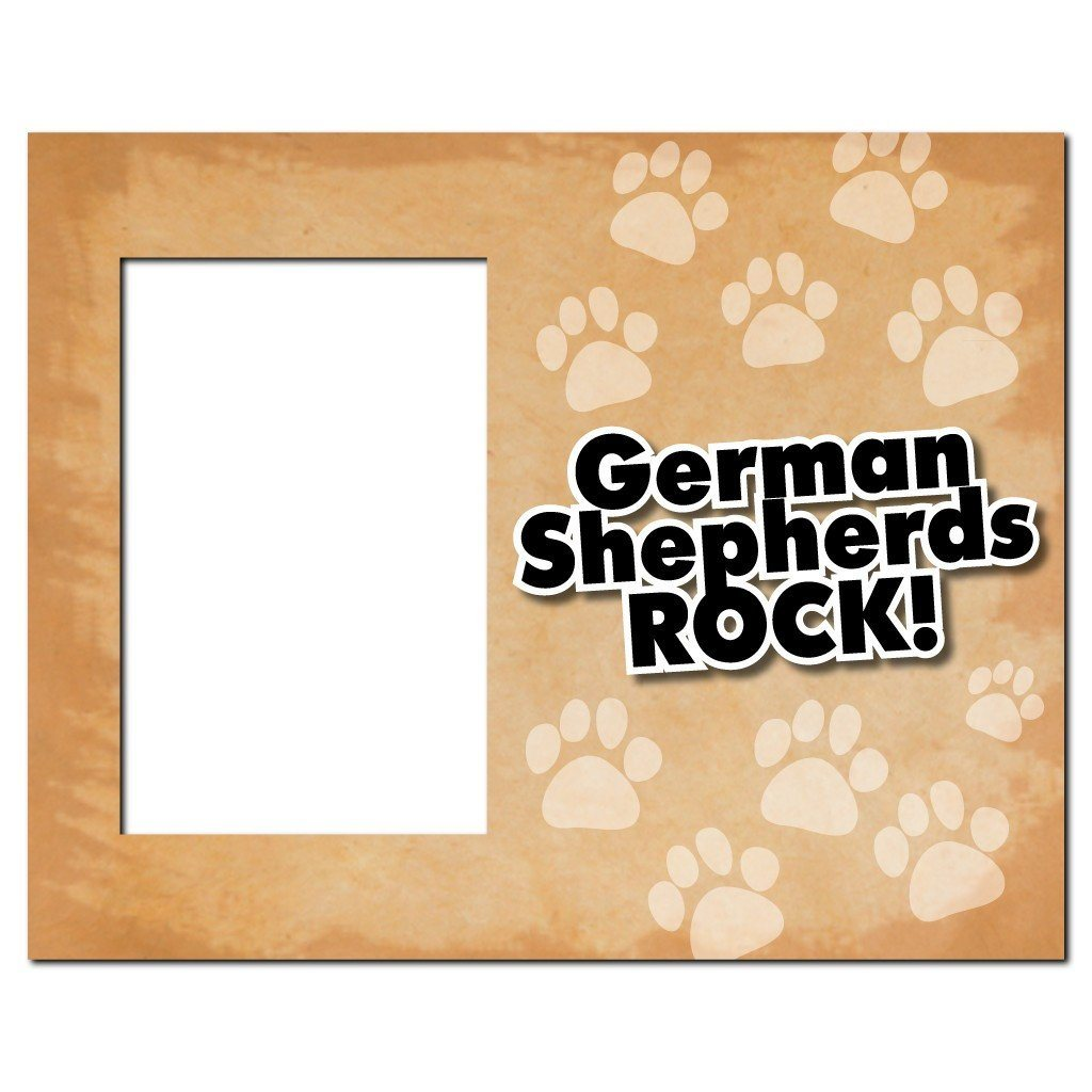 "A picture frame that says ""German Shepherds Rock!"""
