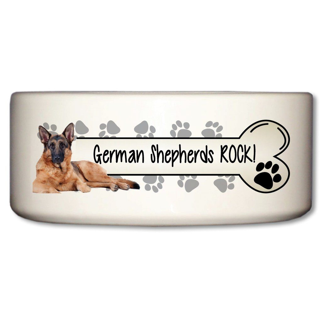 "A Dog Themed Ceramic Bowl that says ""German Shepherds Rock!"""