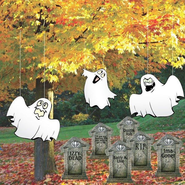 Halloween Lawn Decorations Corrugated Plastic Ghosts in Graveyard Set