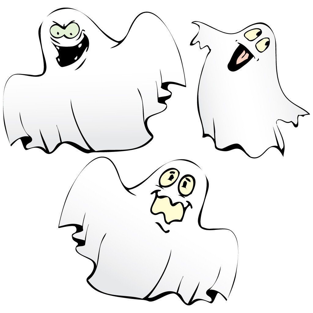 Halloween HANGING Lawn Decorations Corrugated Plastic Ghosts in Graveyard Set