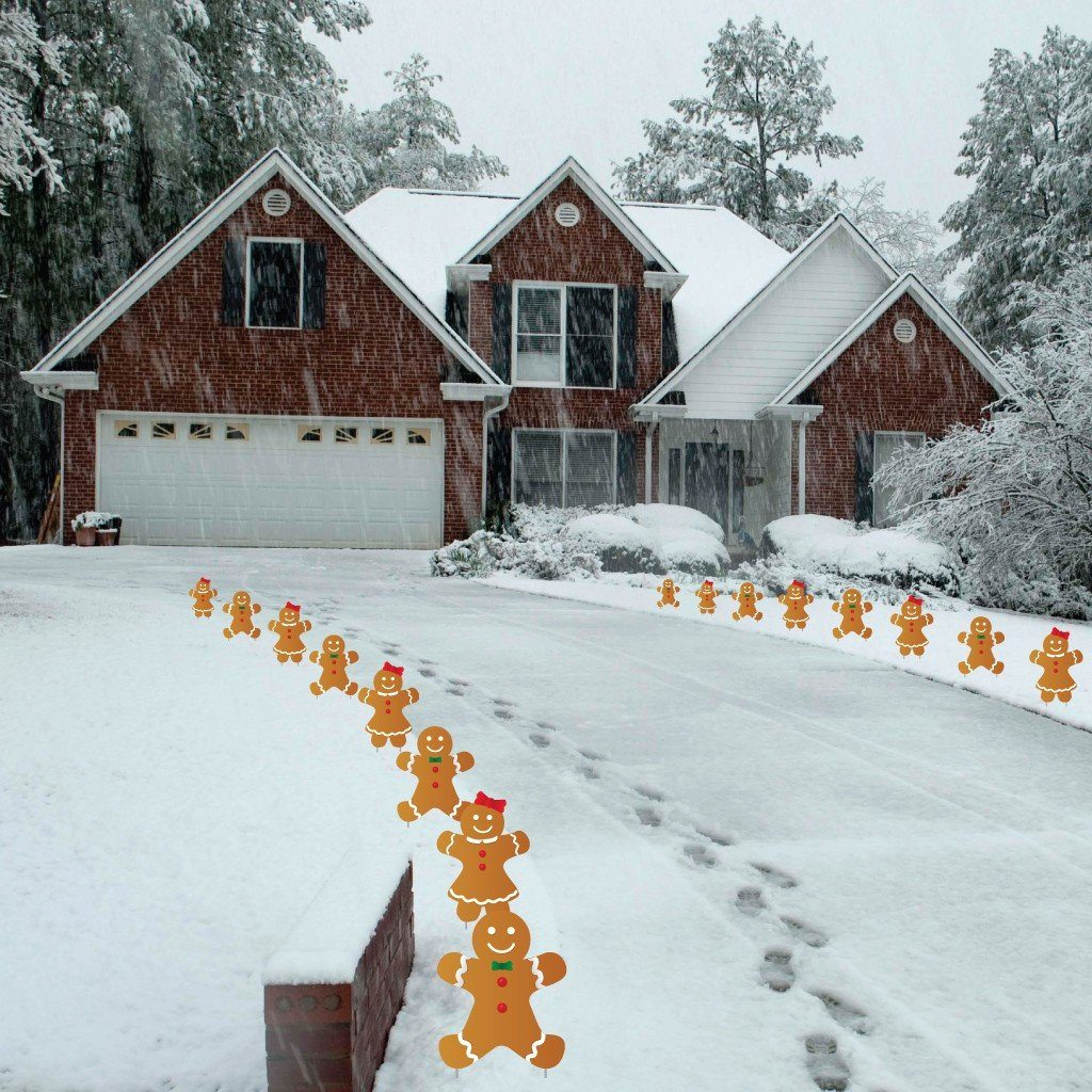 A Driveway with gingerbread men and woman lining the edges