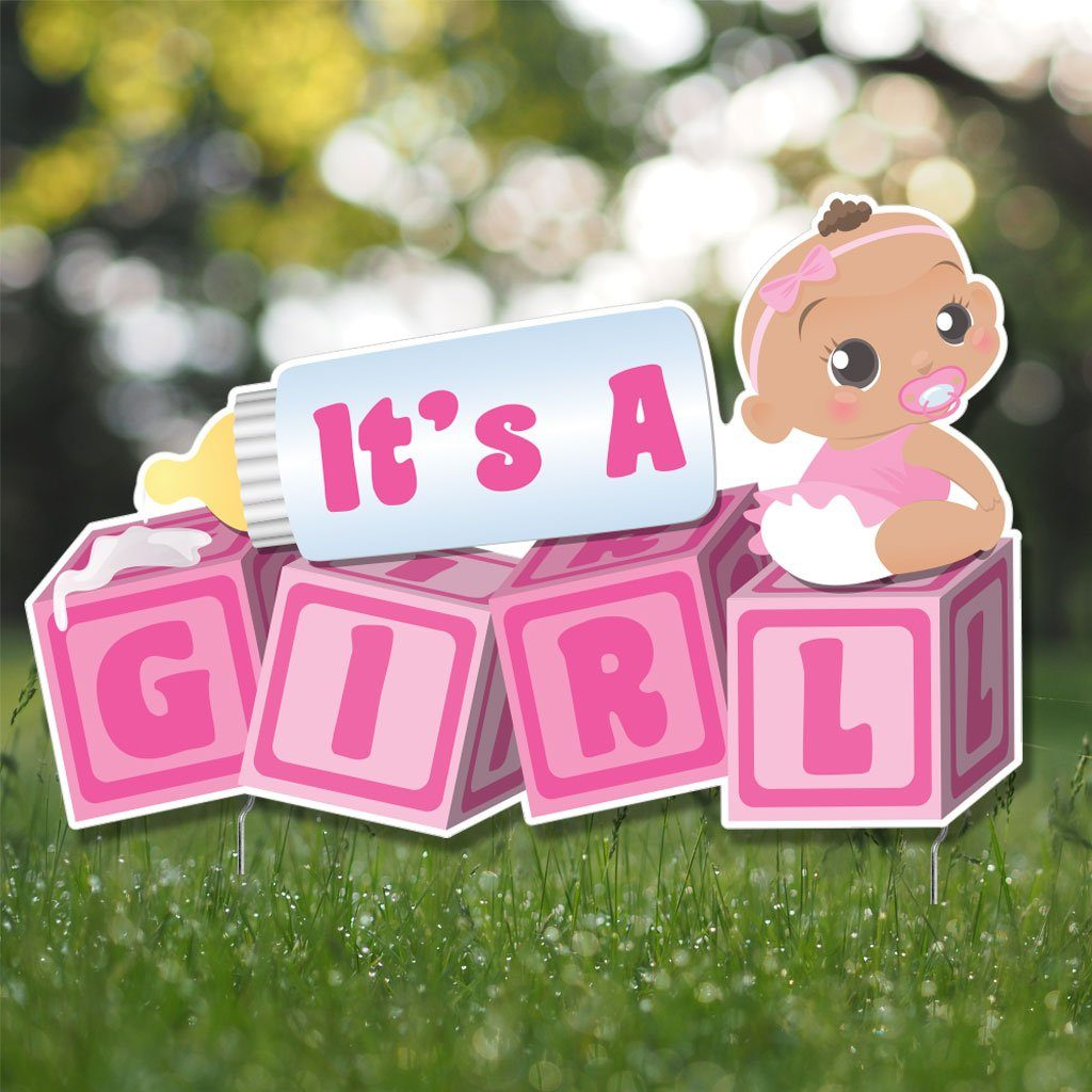 It's a Girl! Die Cut Baby Blocks, Baby Announcement Yard Sign (Dark Skin Tone) - FREE SHIPPING