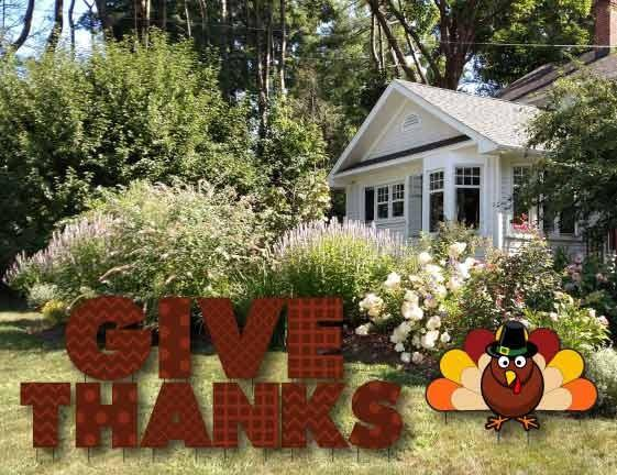 Give Thanks Thanksgiving Yard Letters with Short Stakes