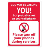 "God May Be Calling You "" No Cell Phones Sign or Sticker - #10"