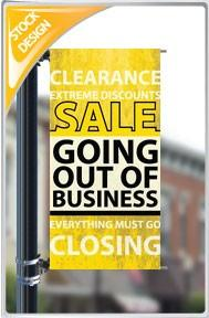"18""x36"" Going out of Business Pole Banner FREE SHIPPING"