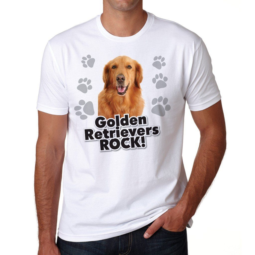 "A Dog Theme T-Shirt that says ""Golden Retrievers Rock!"""