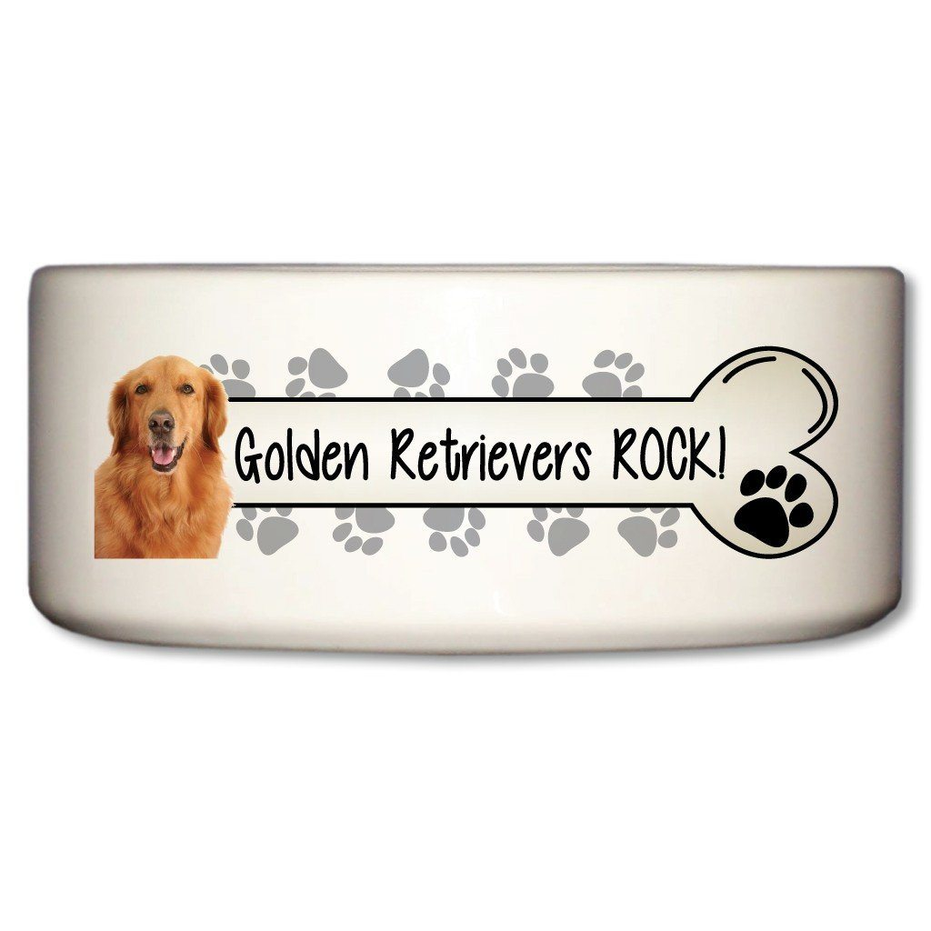 "A Dog Themed Ceramic Bowl that says ""Golden retrievers Rock!"""