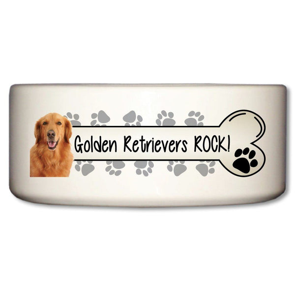 Golden Retrievers Rock Ceramic Dog Bowl
