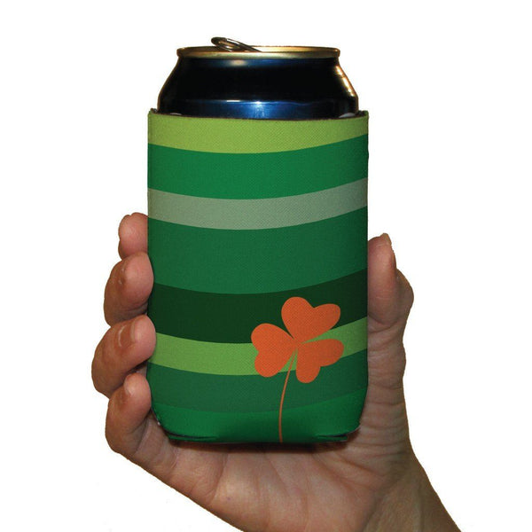 St. Patrick's Day Can Coolers - Set of 12 - Green Stripes with Orange