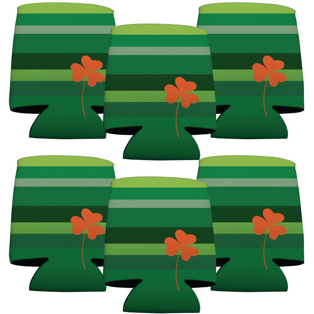 St. Patrick's Day Can Coolers - Set of 12 - Green Stripes with Orange - FREE SHIPPING