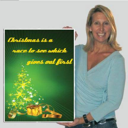 Stock Giant Christmas Card (Green and Gold Tree), W/Envelope