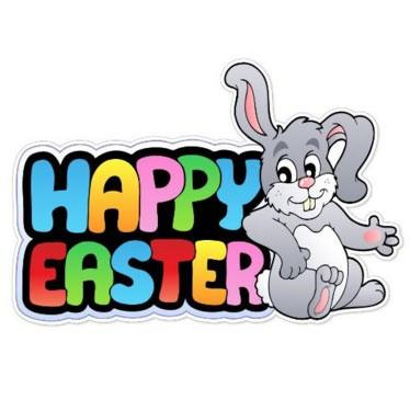 "Easter Yard Decoration - ""Happy Easter"" with Gray Easter Bunny (single"