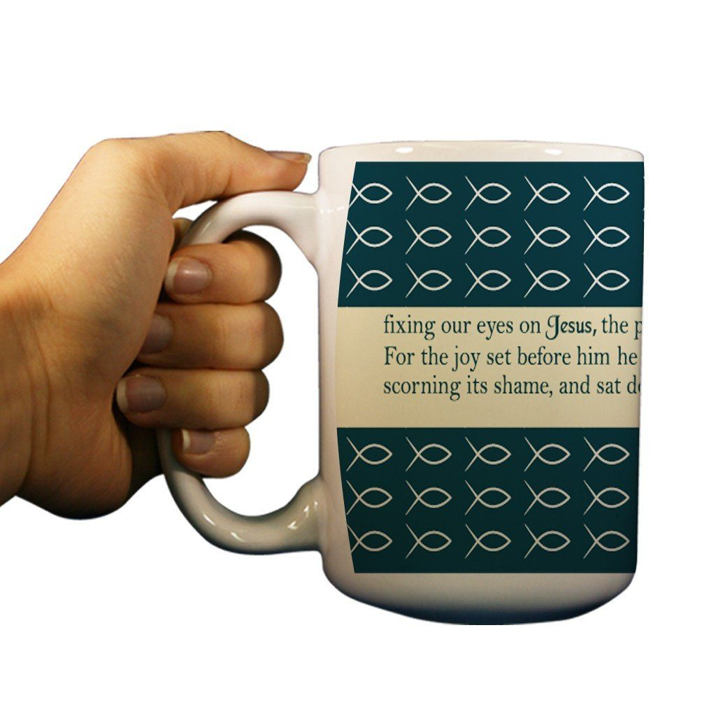 Hebrews 12:2 Religious 15oz Coffee Mug