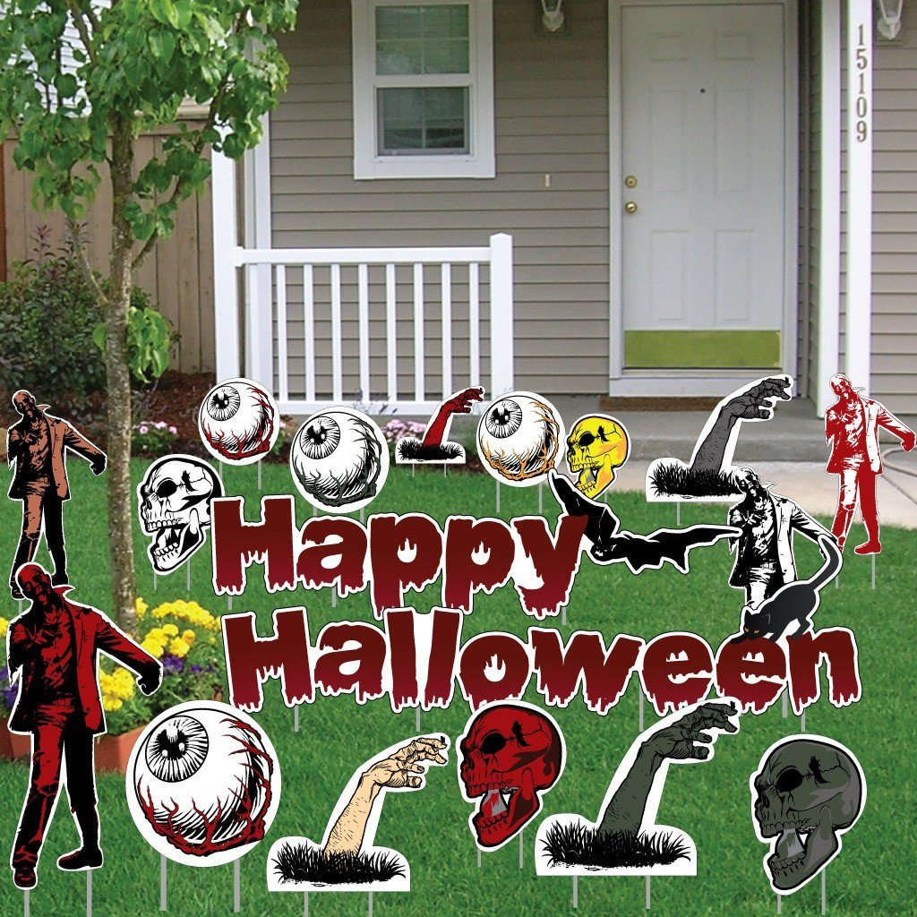 Happy Halloween Scary Items Halloween Lawn Decoration set of 18 - FREE SHIPPING