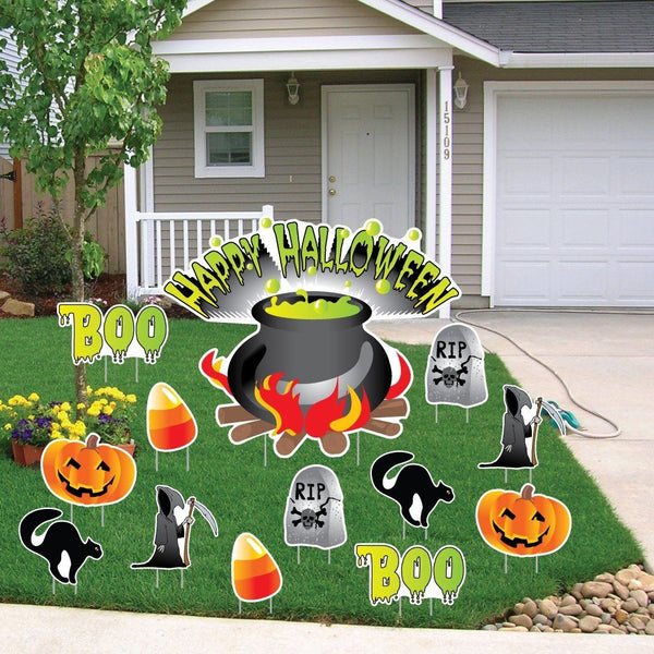 Happy Halloween Cauldron Halloween Lawn Decoration set of 13