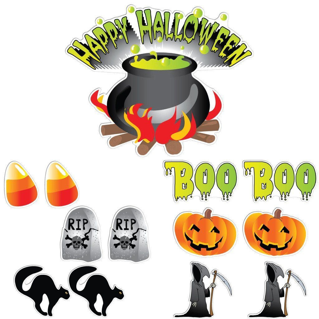 Happy Halloween Cauldron Halloween Lawn Decoration set of 13 - FREE SHIPPING