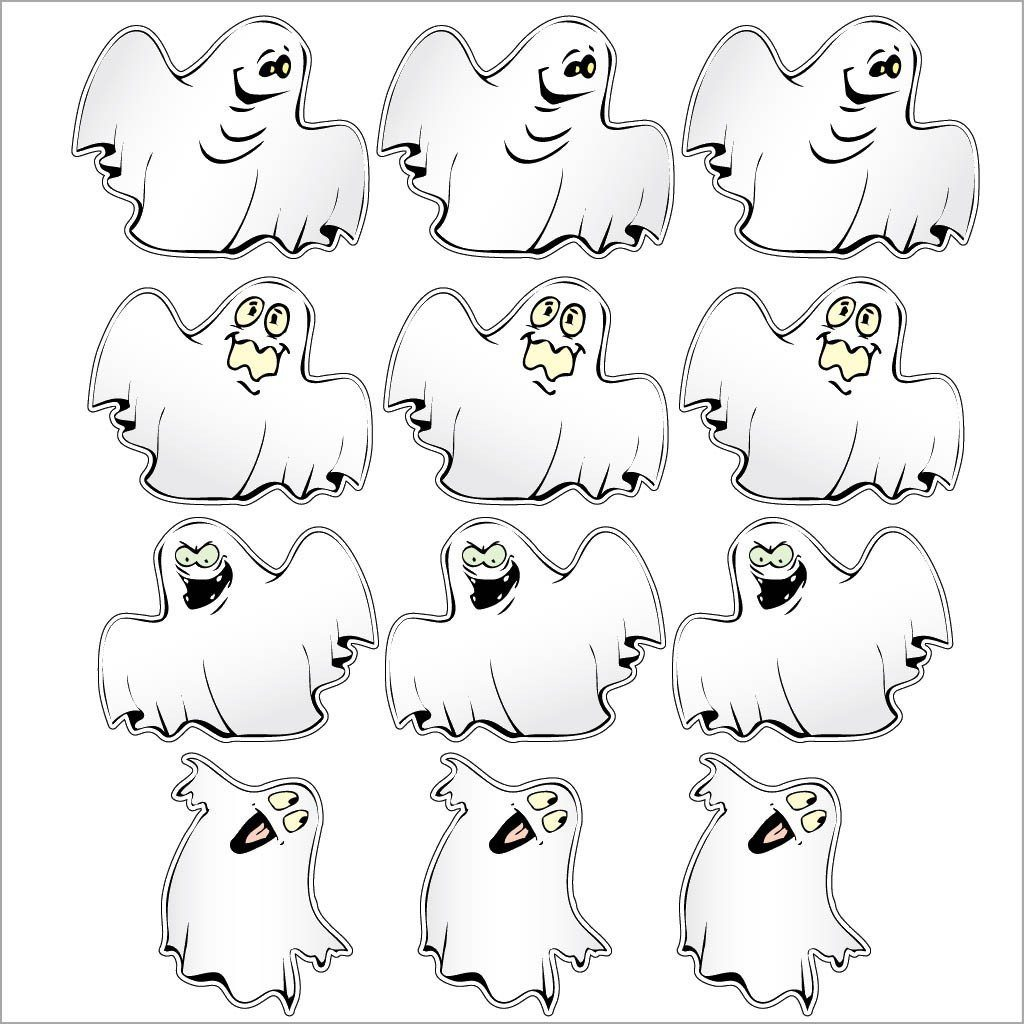 Trick-or-Treat Ghosts Halloween Lawn Decoration set of 12 - FREE SHIPPING