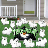 Trick-or-Treat Ghosts Halloween Lawn Decoration set of 12
