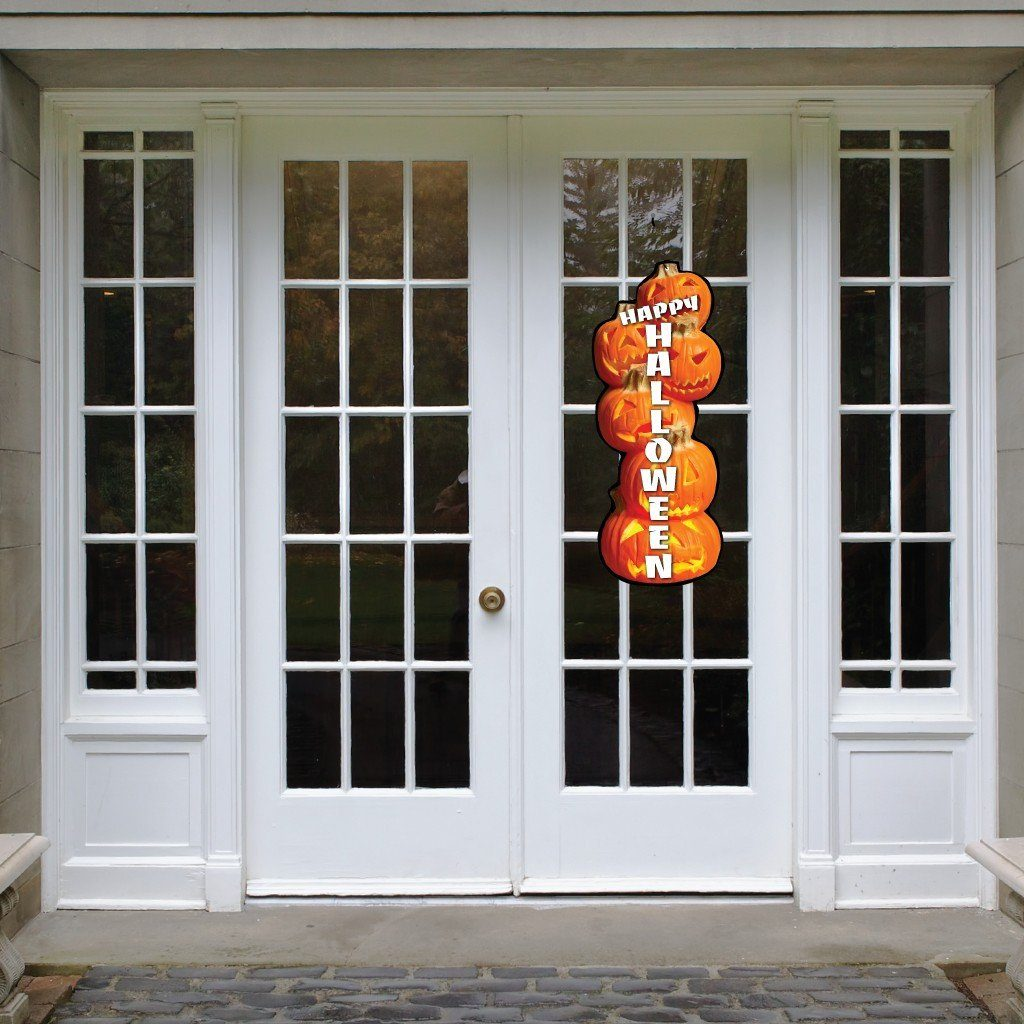 A Pumpkin Stack Corrugated Plastic Door Decoration