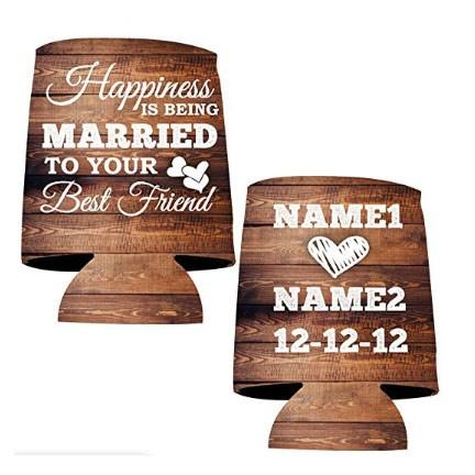 Custom Wedding Can Cooler- Happiness Is Being Married To Your Best