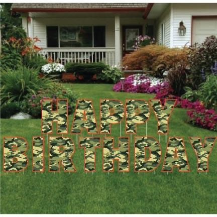 Happy Birthday Camouflage Letters Yard Card - Green or Pink - FREE SHIPPING