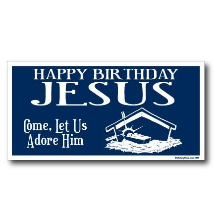 Happy Birthday Jesus (blue) Christmas Lawn Display Sign - FREE SHIPPING