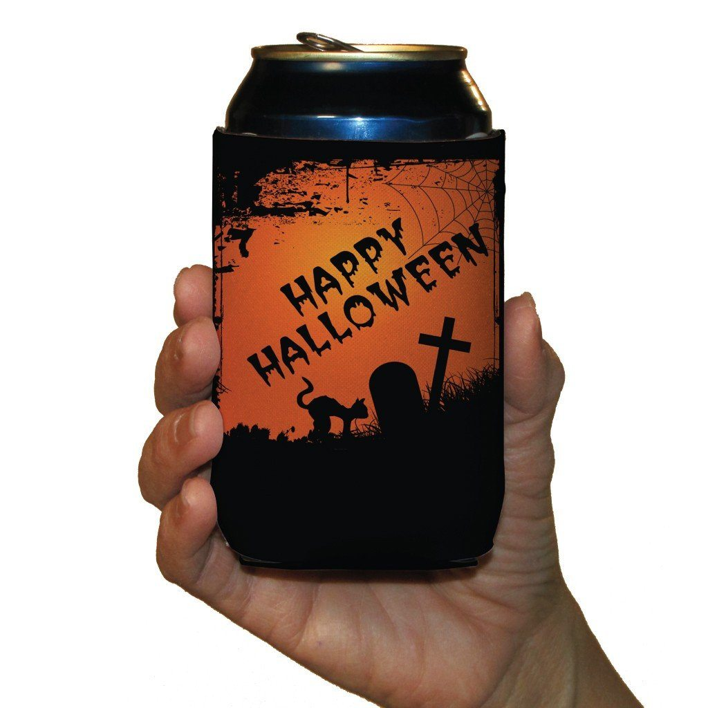 Halloween Party Graveyard Scene Can Cooler Set 6 FREE SHIPPING