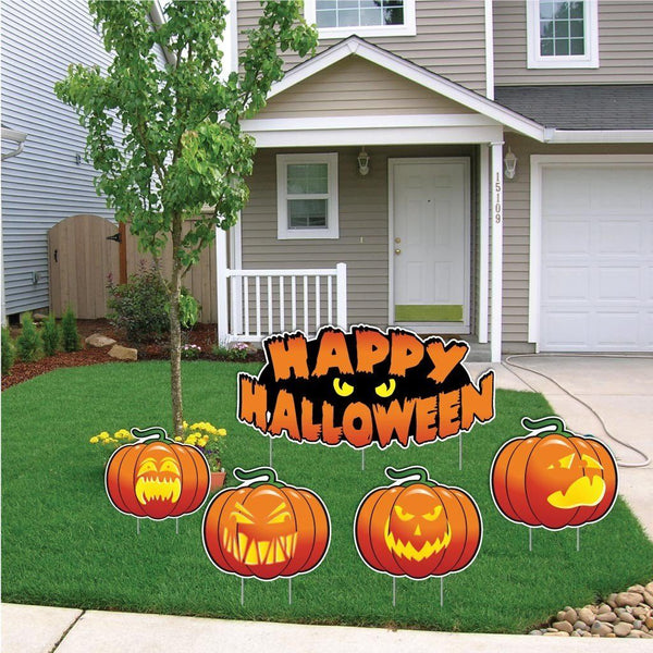 Happy Halloween Scary Pumpkins Halloween Lawn Decoration Set of 5