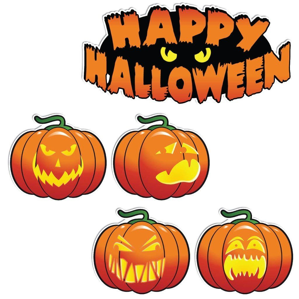 Happy Halloween Scary Pumpkins Halloween Lawn Decoration Set of 5 - FREE SHIPPING