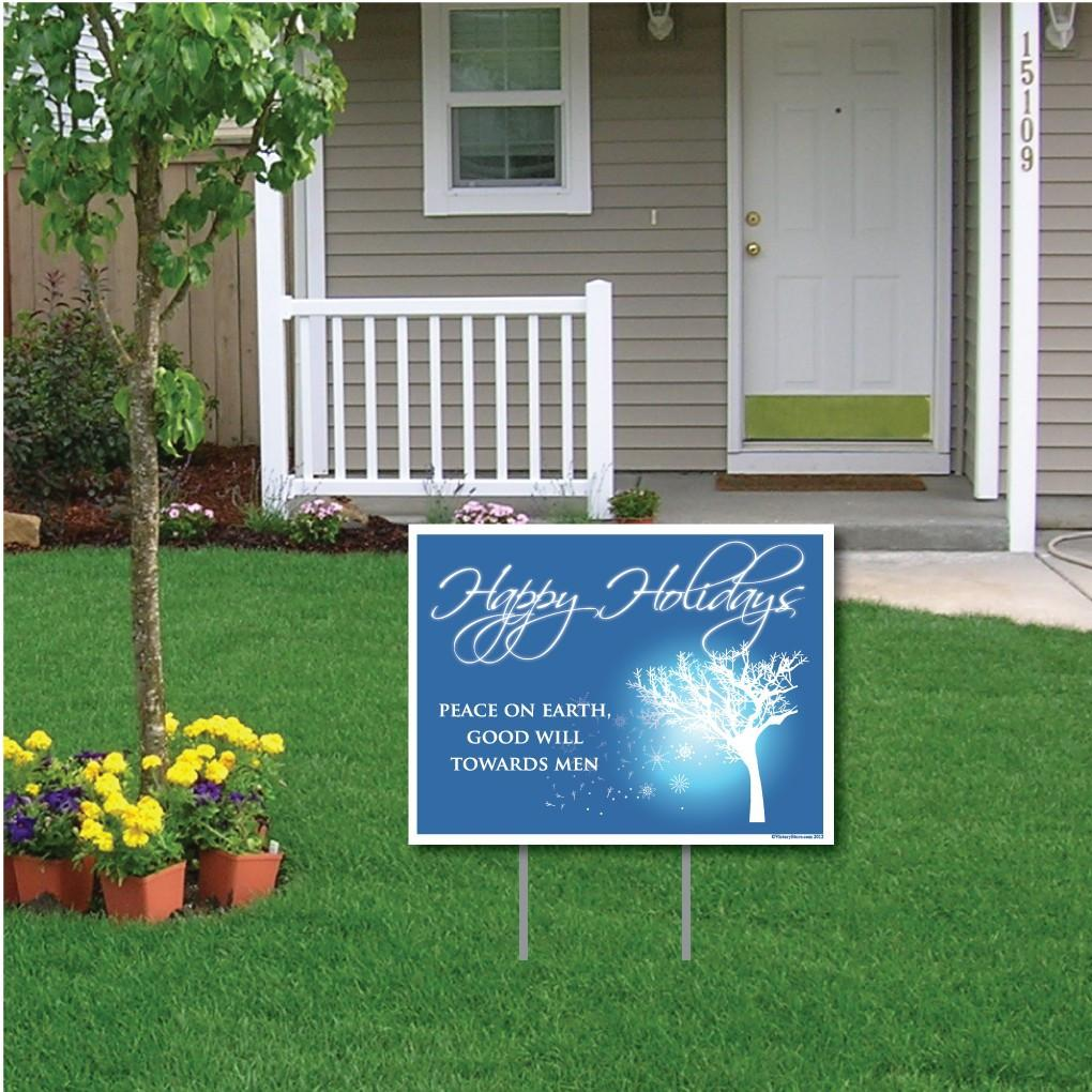 Happy Holidays Peace on Earth Holiday Lawn Display Yard Sign - FREE SHIPPING