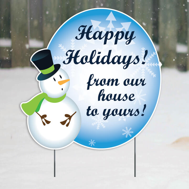 Happy Holidays Christmas Greeting Yard Sign