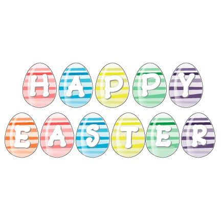 Easter Yard Decoration - Happy Easter Eggs (22 short Stakes)