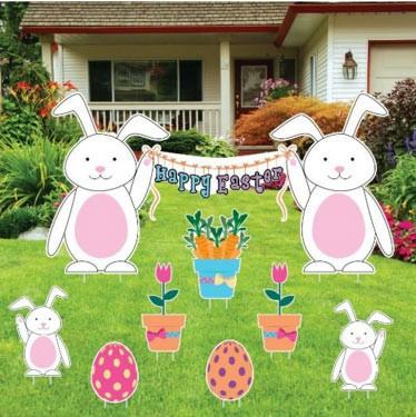 Happy Easter Easter Bunnies with Easter Eggs and Flowers Yard