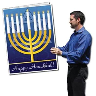 A giant Hanukkah greeting card
