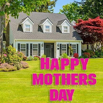 Happy Mother's Day Yard Decoration Letters with 26 Stakes - FREE