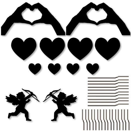 Valentine's Day Yard Decoration - Black Silhouette 'Hand Hearts' - FREE SHIPPING
