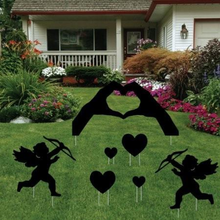 Valentine's Day Yard Decoration - Black Silhouette 'Hand Hearts'