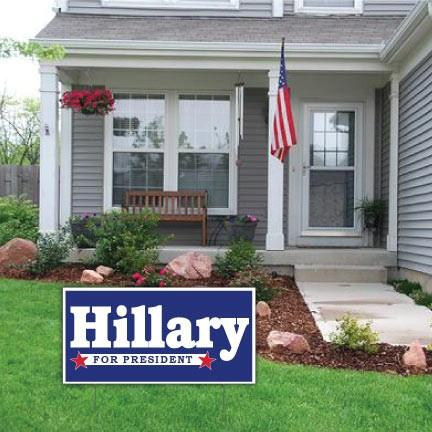 "Hillary For President 12""x24"" Corrugated Plastic Sign"