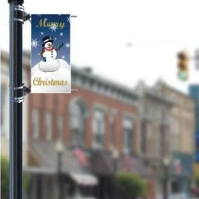 "Merry Christmas with Snowman Holiday 18""x36"" Pole Banner FREE SHIPPING"