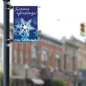 "Snowflake Design, Stock - Holiday 24""x36"" Pole Banner FREE SHIPPING"