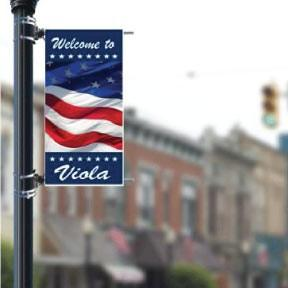 "Stock Patriotic Design - Add your Town/City - Holiday 24""x48"" Pole Banner FREE SHIPPING"
