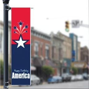 "Stock Patriotic 'Happy Birthday America' - Holiday 24""x96"" Pole Banner FREE SHIPPING"