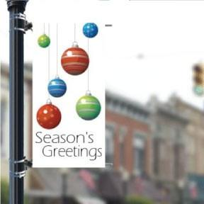"Stock 'Season's Greetings' Ornaments - Holiday 30""x60"" Pole Banner FREE SHIPPING"