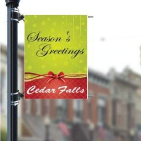 "Season's Greetings Ribbon Custom Holiday 36""x48"" Pole Banner FREE SHIPPING"