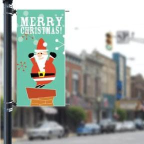"Santa on Chimney Stock Design - Holiday 36""x72"" Pole Banner FREE SHIPPING"
