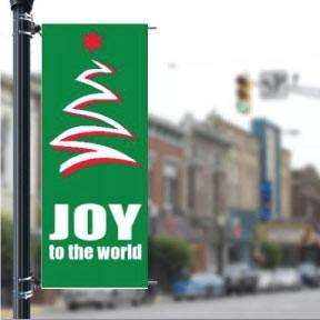 "Joy to the World w/Tree Stock Design Holiday 36""x90"" Pole Banner FREE SHIPPING"