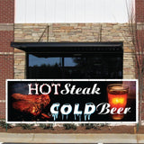 Hot Steaks, Cold Beer Vinyl Banner with Grommets